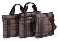 2013 new arrival winter autumn men business shoulder bag  high quality leather crossbody bag  computer plaid striped handbag