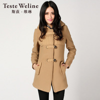 Woolen outerwear hooded woolen overcoat heavy winter coat outerwear female testeweline