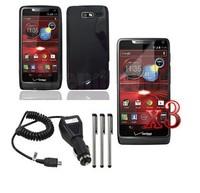 E9 Black TPU Soft Case Cover+Car Charger+LCD+Pen for Motorola Razr i M XT890 XT907