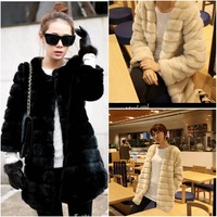 2013 Autumn and Winter faux fur coat outerwear fur overcoat medium-long female Hot sell free shipping 2 colors