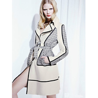 2013 autumn paragraph women's poster b classic check turn-down collar belt long-sleeve trench outerwear