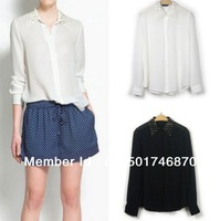 Free shipping Hot sale New Women Trendy Gothic Metal Rivet Studded Spike Collar Blouse Top Shirt  S M L 2013 wholesale