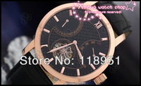 Free Shipping+Hot new large dial belt back through automatic mechanical calendar Sapphire Pierced luxury Swiss Mens Watch