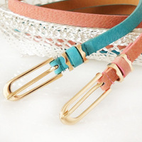 465 pigskin thin belt candy color genuine leather thin belt fashion women's decoration thin all-match belt