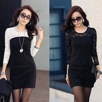 New 2014Hot Selling Spring Autumn Women's Lace Fashion Dress Slim Basic chiffon OL elegant Four Sizes one-piece Dress,Wholesale