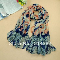 2013 new type women printe butterfly flower scarf/shawls viscose long autumn muslim hijab head scarves 10pcs/lot 5color