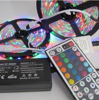 Wholesale - 10M 600 Leds 3528 RGB Led Flexible Strip Light 2x5M Waterproof IP65 + 44 Keys Remote Cotroller + 12V 5A Power S