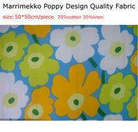 HOT SALE MARIMEKKO poppy design fabric  50*50cm/piece 70%cotton 30%linen Handmade materials for tablecloth,bags etc