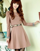 2013 autumn and winter fashion new style long-sleeved dress Noble temperament hubble-bubble sleeve long-sleeved dress