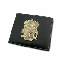 Liverpool black men imitation leather wallet seling metal badge purse fans black classic style purse