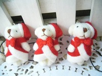 For Sale! 4CM mini teddy bear Christmas bear plush toy dolls with clothes/christmas gifts/wedding gifts/bag or phone pendant