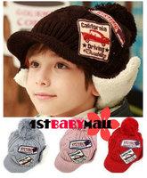 [1st baby mall] Retail 1pc baby girls boys winter warm fleece beanie photography caps kids crochet earflaps hats 5 colors BH-040
