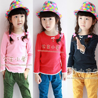 2013 HOT SELLING  children clothing for autumn winter long-sleeve T-shirt  baby clothes basic shirt premier shirts