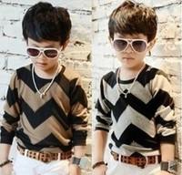 Retail Super Price 1pcs Kids boys T-shirt baby shirts colorful Stripe children wavy line t Shirt  3colors Hot Sale