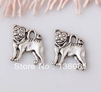 Fashion Vintage  Silvers Floating Floating Alloy Locket Charms Pug Dog  Pendants  Jewelry Findings Fit  Bracelets 100pcs  Z725