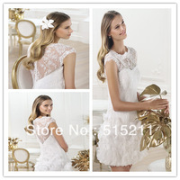 Elie Saab Design Elegant Lace Covered Back Short Mini Wedding Guest Dresses Summer Bridal Gowns 2014 New Arrival