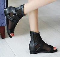 2013 high thick heel platform boots summer net boots cutout boots cool boots open toe sandals gauze