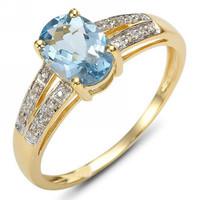 Fashion/Size 6 7 8 9 Jewelry Blue Aquamarine NO58 Woman's 10KT Yellow Gold  Ring Gift/Free Shipping