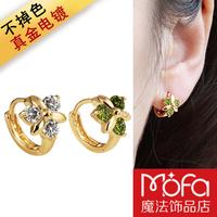 Fashion accessories   gold plated women's 18k gold   earrings big green zircon clover ear buckle