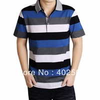 2013 New high quality comfortable Cotton stripe summer fahsion men short sleeve turn down collar Men Tees shirts drop shipping