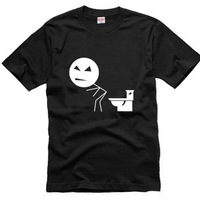 100% Cotton Free shipping The toilet one spoof Funny Custom short sleeve DIY T-shirt  New Design Print Shirts