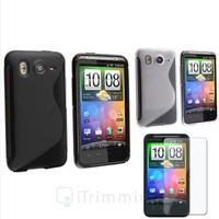 Black+White S Shape TPU Rubber Gel Soft Skin Case+LCD Cover For HTC Inspire 4G