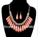 2PCS/lot 50CM Chain length red100% hand-woven resin,Large droplets rhinestone tassel short necklace and earrings set,Top quality