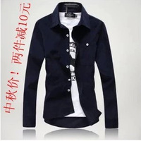 2013 autumn slim all-match shirt corduroy long-sleeve shirt solid color