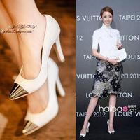 Ladies Fashion High Heel Shoes Metal Pointed Toe Women Pumps White Black Size 35-40 Wholesale Dropshipping JJM222-17NF