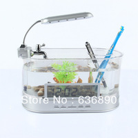 Hot-selling mini fish tank lcd clock pen multifunctional usb water cluster box mini fish tank