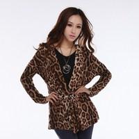 2013 spring fashion leopard print batwing sleeve female slim long-sleeve slim waist lacing cardigan thin outerwear trench