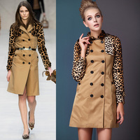 Fashion autumn miuco2013 women's leopard print cape patchwork long-sleeve slim double breasted trench outerwear