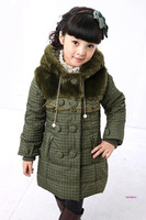 Children's clothing wadded jacket Korean Style cotton-padded jacket 2013 winter girls ultra long winter cotton trench outerwear