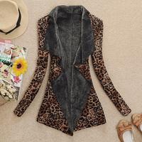 Autumn and winter women fashion elegant leopard print large lapel plus velvet slim trench coat