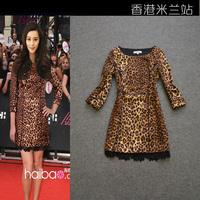 2013 women's fashion leopard print slim three quarter sleeve trench outerwear