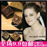 Small accessories vintage black gem cutout sculpture decorative pattern earrings