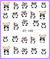 50 PCS / LOT Free Shipping Nail Art Water Transfers Stickers Nail Decals Stickers Water Decal Panda Bearcat