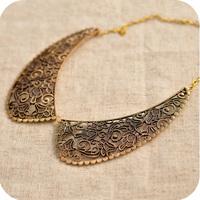 Fashion elegant vintage on0156 metal carved metal false collar necklace 61g