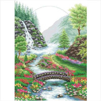 Counted Cross Stitch  Best Quality---Luxurious---Flower Mountain Tree River Bridge--Hot Sell Free shipping