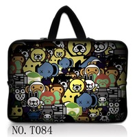 "Carton  Animals 15"" 15.6"" Laptop Sleeve Bag Case+Hide Handle For Dell Inspiron /HP Pavilion"