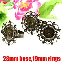 DIYJewelry Ring Findings-Antique Bronze 28mm Ring Base Blanks&Ring Cares
