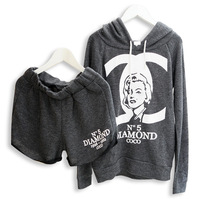 Autumn and winter pullover with a hood marilyn monroe print shorts casual fashion sweatshirt twinset