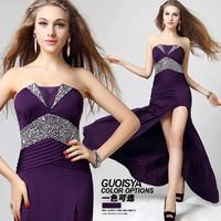 Hot sell Ultra soft fabric dinner full dress fashion sexy tube top dress formal purple bridesmaid dress  Free shipping