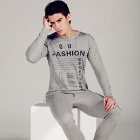 Thin male print thermal underwear set underwear set male long johns long johns cotton sweater13091803