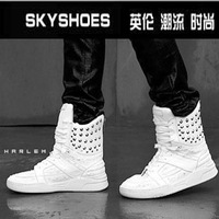 2013 male boots trend boots male high-top shoes rivet white male boots fashion boots male