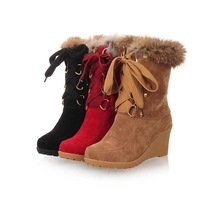 Snow boots female boots 2013 autumn and winter new arrival wedges boots thermal casual high-heeled boots