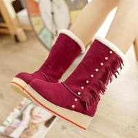 Snow boots female boots wedges medium-leg 2013 autumn and winter platform casual boots