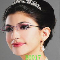 Myopia glasses Women frame diamond glasses fashion rimless eyeglasses frame