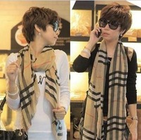 3 2013 ultralarge ultra chiffon long silk scarf classic plaid scarf autumn and winter female