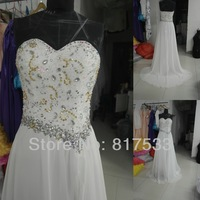 Real Samples Off White a-line chiffon floor length Luxuriant Beading Sequin Rhinestone Slit Prom Dresses Evening Gowns